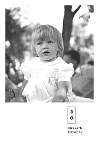 Laure de sagazan (foil) white photo birthday invitations
