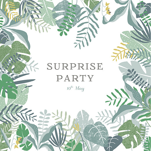 Birthday Invitations Tropical forest green
