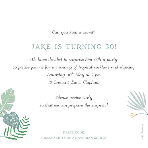 Birthday Invitations Tropical forest green - Page 2