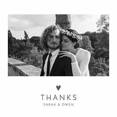 Wedding Thank You Cards Elegant heart white finition