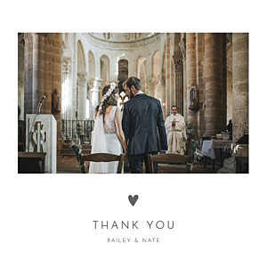 With pictures elegant heart 4 pages white wedding thank you cards