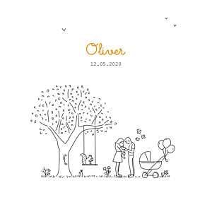 Woodland promise white baby announcements