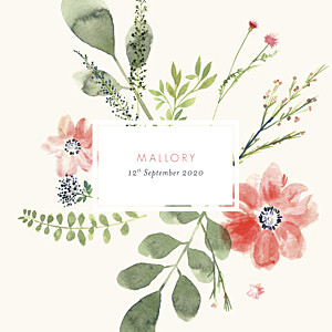 Spring blossom beige baby announcements