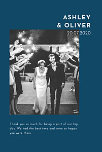 With pictures love story blue wedding thank you cards
