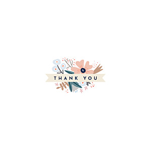 Floral ribbon (4 pages) pink baby thank you cards