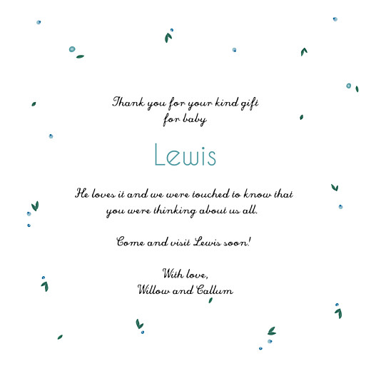 Baby Thank You Cards Stork (4 pages) blue
