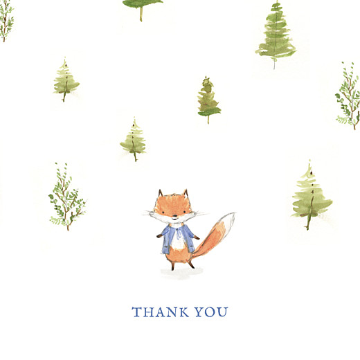 Baby Thank You Cards Watercolour fox (4 pages) blue