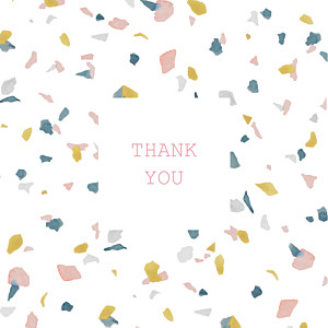 Granite (4 pages) pink & yellow photo baby thank you cards
