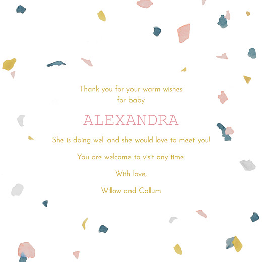 Baby Thank You Cards Granite (4 pages) pink & yellow - Page 3