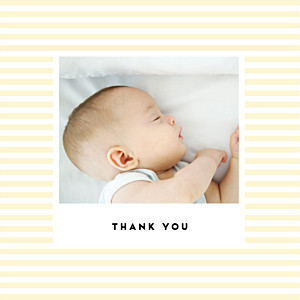 Pastel stripes (4 pages) yellow orange baby thank you cards