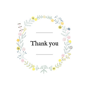 Rustic floral (4 pages) white baby thank you cards