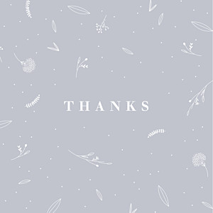 Elegant foliage (4 pages) gray grey baby thank you cards