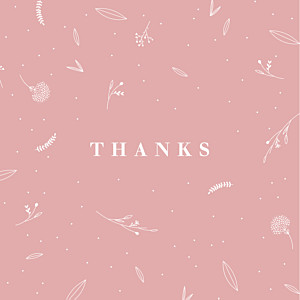 Elegant foliage (4 pages) pink girls baby thank you cards