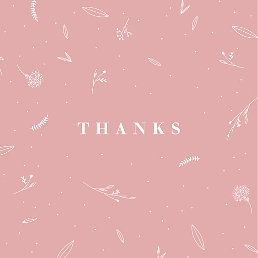 Baby Thank You Cards Elegant foliage (4 pages) pink