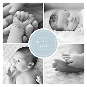 Medallion (large) blue boys baby thank you cards