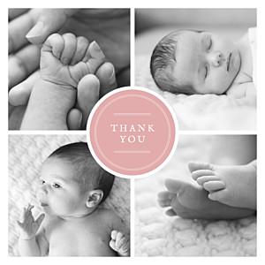 Medallion (large) pink orange baby thank you cards