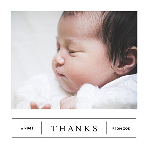 Breaking news white baby thank you cards