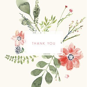 Spring blossom (4 pages) cream photo baby thank you cards