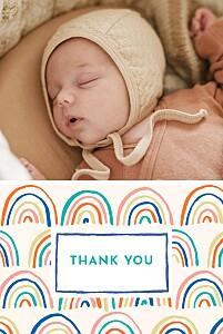 Rainbow (2 photos) blue girls baby thank you cards