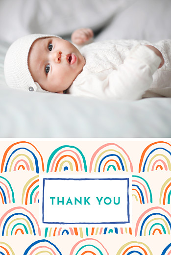 Baby Thank You Cards Rainbow (2 photos) blue