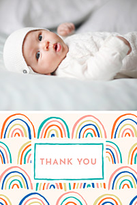 Rainbow (2 photos) green beige baby thank you cards