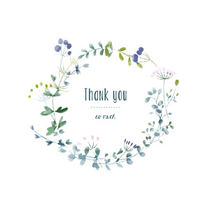 Watercolour meadow (4 pages) purple baby thank you cards