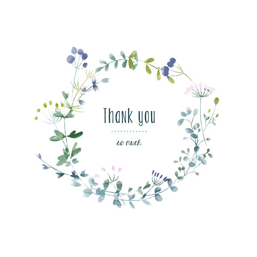 Baby Thank You Cards Watercolour meadow (4 pages) purple