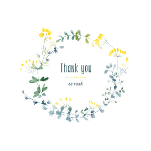 Watercolour meadow (4 pages) yellow yellow baby thank you cards