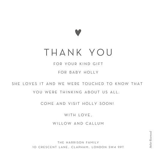Baby Thank You Cards Lovely heart large (foil) white - Page 2