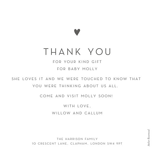 Baby Thank You Cards Lovely heart (large) gray - Page 2