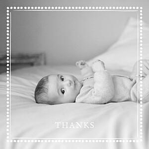 Polka dot border (large) white baby thank you cards