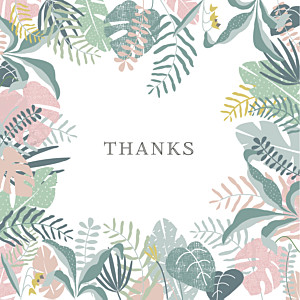 Tropical forest photo (large) pink green baby thank you cards