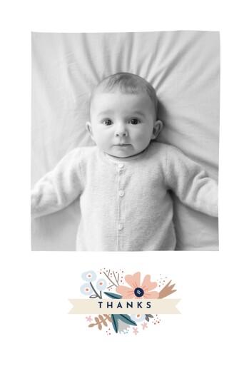 婴儿感谢卡花色带(纵向)的粉红色