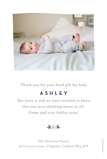 Baby Thank You Cards Floral ribbon (portrait) pink