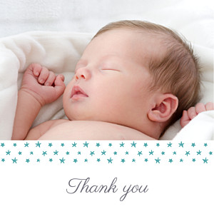 Starry ribbon (large) blue baby thank you cards