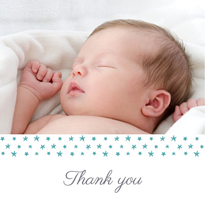 Baby Thank You Cards Starry ribbon (large) blue finition