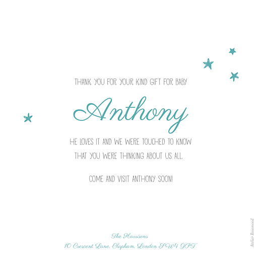 Baby Thank You Cards Starry ribbon (large) blue - Page 2