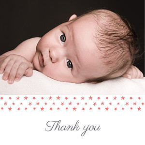 Starry ribbon (large) coral red baby thank you cards