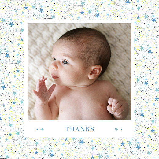 Baby Thank You Cards Liberty stars (4 pages) blue