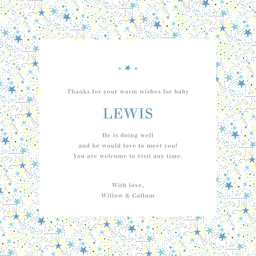 Baby Thank You Cards Liberty stars (4 pages) blue - Page 3