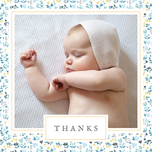 Liberty heart (large) blue girls baby thank you cards