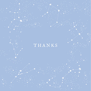 Constellations 4 photos light blue blue baby thank you cards