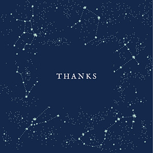 Constellations 4 photos dark blue petite alma  baby thank you cards
