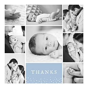 Souvenir 8 photos blue autumn baby thank you cards