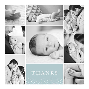 Souvenir 8 photos green green baby thank you cards