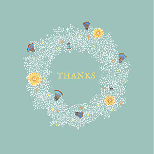 Baby's breath green green baby thank you cards