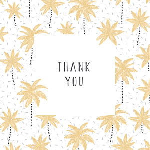 Palm trees yellow baby thank you cards