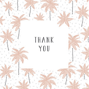 Palm trees pink pink baby thank you cards