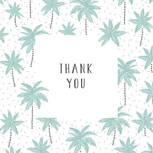 Palm trees green green baby thank you cards