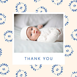 Family is forever blue bikini sous la pluie  baby thank you cards